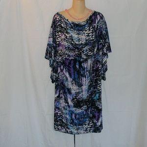 Multicolored Flutter Sleeved Dress Size L-1X? Read